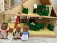 Sylvanian families deluxe house furniture and bear family