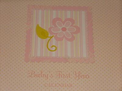 BABY'S FIRST YEAR CALENDAR GIRL PINK BABY BOOK MEMORY KEEPSAKE NEW