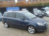 vauxhall zafira, 1.9 diesel sri model, 7 seater, metallic blue