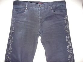 Roberto Cavalli trousers/jeans with embroidered design, Size 50