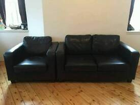 2+1 small leather sofa and armchair