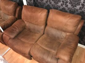 Brown leather (suede) two seater recliners