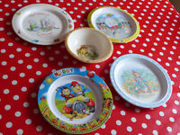 Childrens Melamine Tableware 4 Plates & Bowl