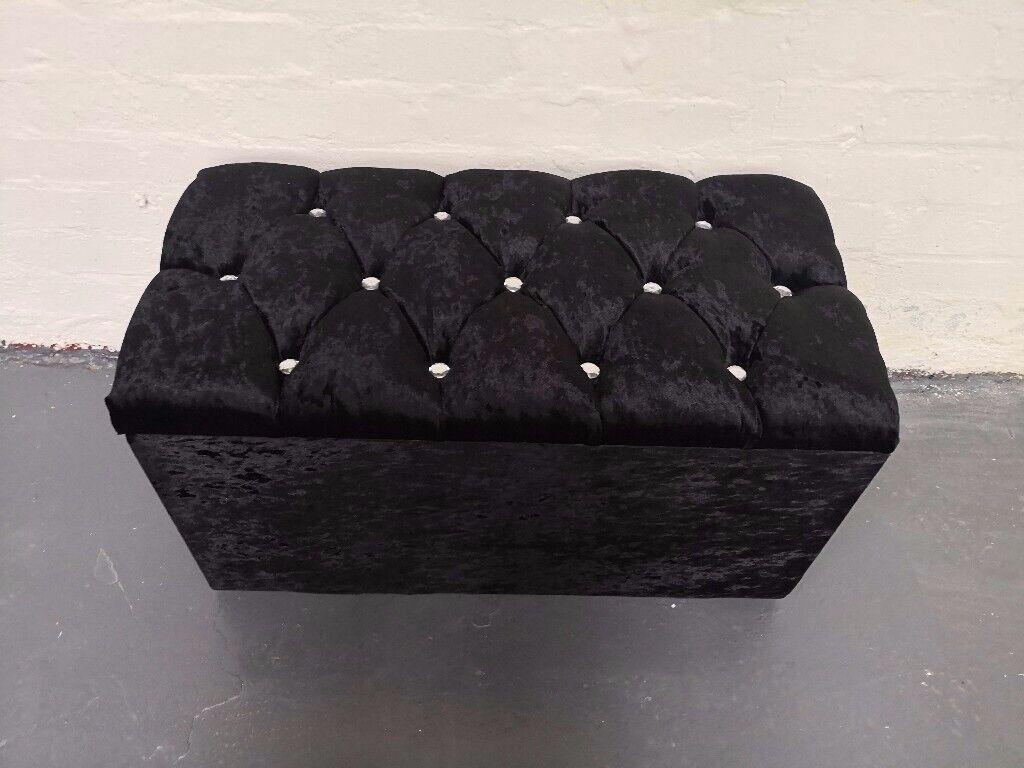 Peachy Crushed Velvet Diamante Ottoman In Kelvinbridge Glasgow Gumtree Inzonedesignstudio Interior Chair Design Inzonedesignstudiocom