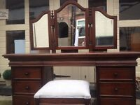 Solid Huge 5ft Knee Hole Dressing Table&Stool&Mirror POSS DELIVERY