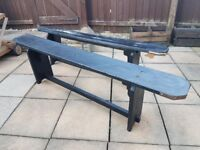 Pair of wooden benches - 6' foot (180cm) long wood bench seating x 2. Collection only.