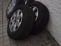 "VOLKSWAGEN CARAVELLE GENUINE VW ALLOYS 16"" WITH Excellent Continental Tyres"