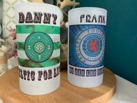 Football frosted glass beer jugs. Personalised with choice of club, slogan and name £12