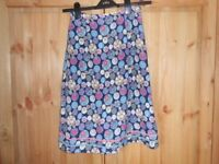 Mistral navy circle pattern skirt, size 8, lined