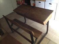 Victorian English elm double child's desk