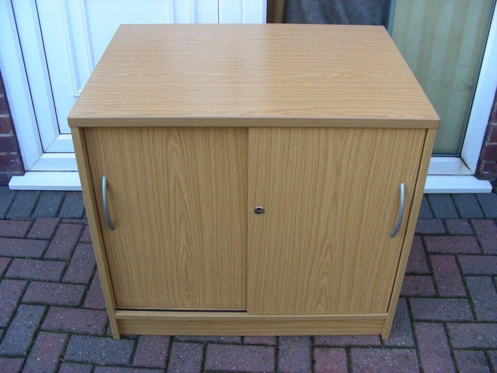 Office Storage Cabinet Sliding Door Filing Cupboard Oak Effect