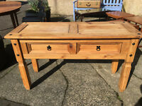 Superb 2 Drawer Solid Mexican Pine Console Table or Dining Room Side Table