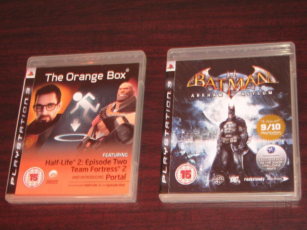 PS3 Games Batman Arkham Asylum & The Orange Box, Team Fortress Portal Half-Life, Cases Discs