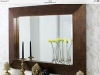GALLERY BRONZE CRACKLE TUSCAN MIRROR WITH 2 VASES