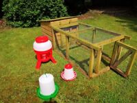 FOR SALE WOODEN CHICKEN COUP WITH RUN + FEEDERS