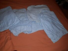5 x pale blue single fitted sheets