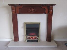 Cherrywood Mantlepiece & Marble Hearth, with electric fire