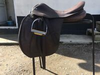 "Jeffries falcon brown saddle medium width 18"" second hand"