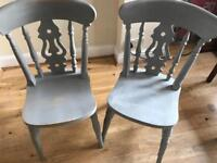 Grey shabby chic distressed solid wood chairs x4