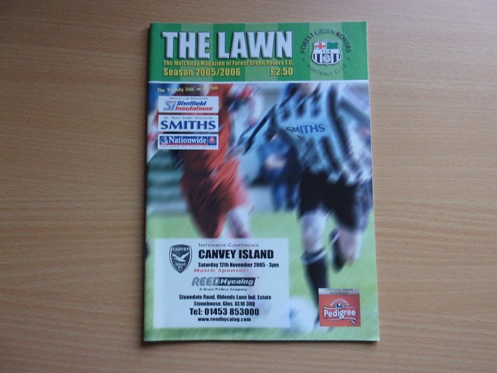 FOREST GREEN ROVERS VS. CANVEY ISLAND. 2005 NATIONWIDE CONFERENCE FOOTBALL PROGRAMME.