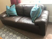 *** TWO SEATER BROWN LEATHER SOFA ***