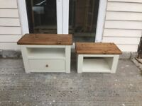 Chunky rustic solid timber TV Unit with draw & coffee table painted