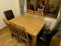 Harvey's 'Calais' Extendable Oak Dining Table and Six Chairs