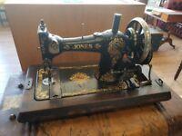 Vintage decorative Jones family hand cranked sewing machine