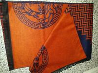 Two Versace scarfs lovely material navy and orange