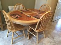 Pine tiled kitchen table and four chairs