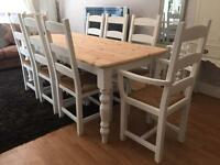 Lovely 6ft Shabby Chic Farmhouse Pine Table and 8 Chairs inc Two Carvers
