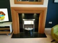 Oak Veneer Fireplace and Granite Hearth