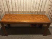 Classic 70s console table / sideboard parquet (herringbone) oak table top