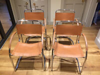 chairs - tubular steel and leather - set of 4 - £50 ono