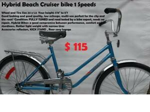 "24 inch Beautiful  Ladies / junior 1 Speed Rapido Vintage Beach Cruiser Bike height: 5'0"" to 5""7 JUST LIKE NEW"