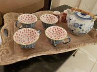 Tray with mugs and teapot