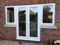2 (uPVC) French Doors and 2 Windows with Leaded Glass