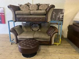 CHESTERFIELD LEATHER+ FABRIC 3 PIECE SOFA SET + FOOTSTOOL IN NICE CONDITION + FREE DELIVERY