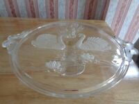 Large Glass Cake Stand featuring Swans