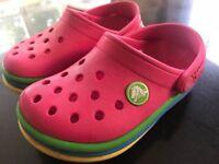 Rainbow crocs size 8