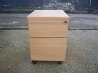 WOODEN 3 DRAW PEDESTAL FILING CABINET GOOD CONDITION