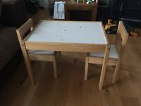 Ikea children's table and 2 chairs