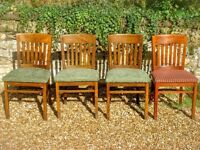4 solid oak chairs made by Abbey Furnishings - PE9