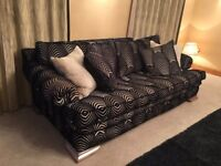 Two Duresta Kubla Khan Black & Gold 4 Seater Sofas Cost £15,000