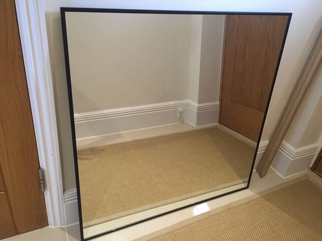 black metal framed mirror 90cm x 90cm
