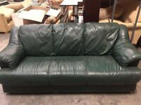 Dark Green leather three seat sofa