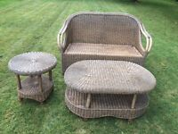 Rattan furniture set 2 sofas, 1 coffee table and 1 side table