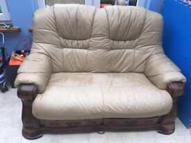 2x Leather Solid Oak Sofas 2 Seater Both In Great Condition Delivery Available