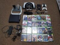 Xbox 360 elite 120gb kinect with accesories and 24 games