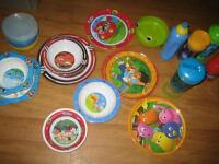 toddler dishes plates, bowls, and water bottles great condition